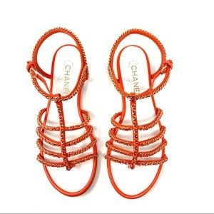 CHANEL Orange Gold Chain CC Gladiator Flat Sandals